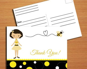 Bumble Bee, Honey Bee Thank You Card with Postcard Back PRINTABLE DIY