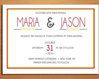 Modern Typography Fall / Autumn Wedding Invitation PRINTABLE / DIY