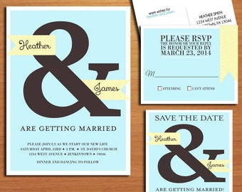 Blue and Yellow Ampersand Wedding Collection / Invitation / RSVP / Save the Date Postcard PRINTABLE / DIY