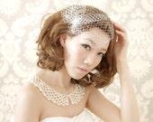 Bridal  birdcage veil , blusher veil