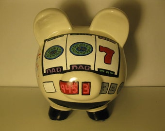 Personalized, Handpainted, Slot Machine Bank Piggy Bank - MADE TO ORDER