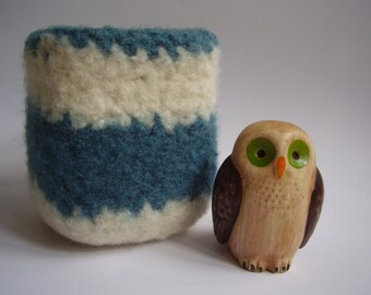 wee felted wool bowl dark teal and cream striped square container