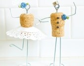 Whimsical Champagne Cork Wedding Cake Topper with Dress, Bowler Hat and Boutonniere