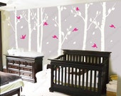 Birch Tree Wall Decal wall Sticker white tree decal Nature room decor kids decal baby nursery decal  wall decor Art - birds in birch forest
