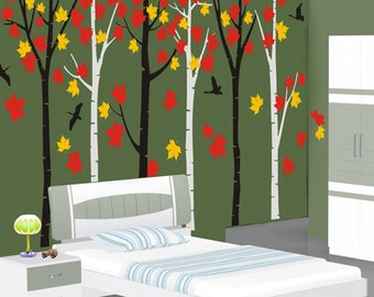 Forest Wall Decals wall stickers nature room decor wall decor wall art  - Birds in  Forest 6 trees