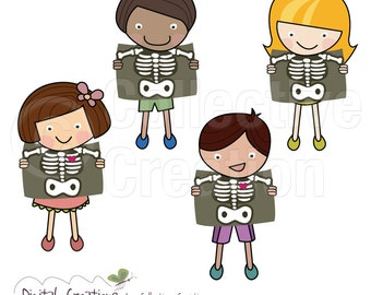 X Ray Kids Digital Clipart Set - Commercial and Personal Use