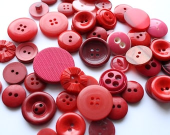 50 vintage and recycled red buttons