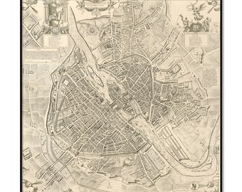 "Map of Paris - Antique wall map of Paris (1609) - LARGE Archival Fine Art print up to 36"" - Vintage map of Paris - by Outtakeprints, 071"