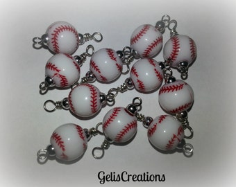 Pre-made BASEBALL dangle beads for bottlecap necklaces jewelry, and many other things..