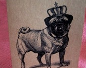 Pug with Crown Set of ANY 3 Greeting Note Cards Brown Recycled Kraft Cardstock with matching envelopes 5 x 7""