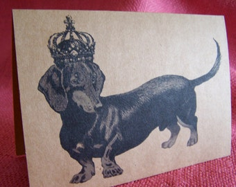 """Daschund Dog With Crown Set of ANY 3 Greeting Note Cards Invitations Kraft Cardstock matching envelopes 5 x 7"""""""