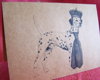 Dalmatian Dog With Crown and Tie Set of ANY 3 Greeting Note Cards Invitations Kraft Cardstock matching envelopes 5 x 7""