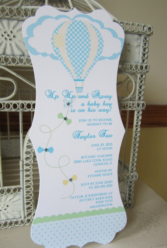 Baby Shower Favors Hot Air Balloons ~ Hot air balloon theme boy baby shower custom die cut