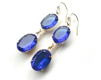 Blue Sapphire Earrings - Glamorous Vintage Long Capri Blue Jewel Earrings with Gold Setting - Handmade Wedding Jewelry