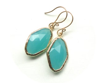 Turquoise Gold Earrings - Glass Stone Jewelry in Teal & Gold - Bridesmaid Gift Idea