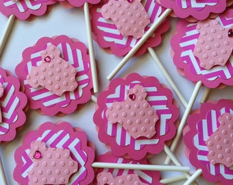 Baby Girl Cupcake Toppers, Chevron Baby Shower Cupcake Toppers, Bodysuit Cupcake Toppers, Chevron Cupcake Toppers 12 pc READY TO SHIP