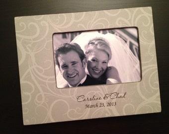 Personalized Wedding Gift Wedding Frame Engagement Gift Personalized Wedding Date Wood 4x6 Picture Frame Anniversary Gift Keepsake Frame