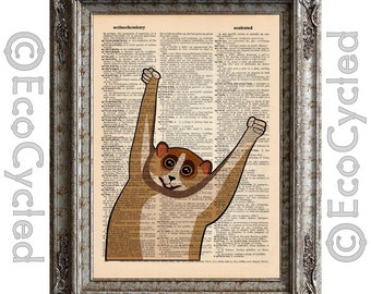 Slow Loris Tickle 1 on Vintage Upcycled Dictionary Art Print Recycled Repurposed Monkey bookworm gift
