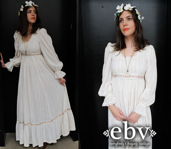 Vintage 70s Hippie Boho Wedding Dress S M Hippie Wedding Dress
