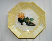 Vintage Woman's Shoe with Yellow Rose Reverse Decoupage Plate ES35294-45