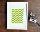 Chevron Wall Decor, Geometric Art Print, Green, Yellow, 5x7, 8x10