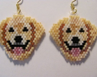 Hand Beaded Yellow Lab Dog dangling earrings