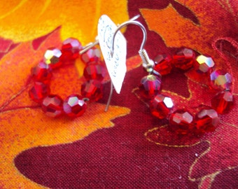 Irridescent Handmade Red Glass Circle Earrings.