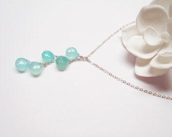 Chalcedony Sterling Silver Chain Necklace