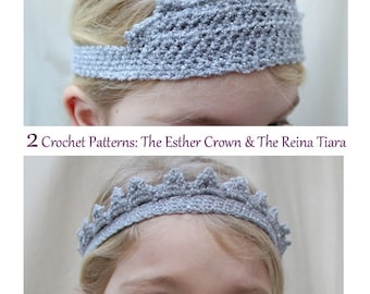 2 PATTERN Set: The Esther Crown & The Reina Tiara-Newborn, Baby, Toddler, Child, Adult Sizes-cape, queen, princess, dress-up, costume