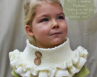 Crochet Pattern: The Charlotte Cowl -Toddler, Child, & Adult Sizes- ruffle, scarf, collar, sweet, feminine