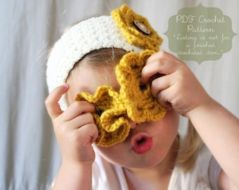 Crochet Pattern: The Camille Headband or Warmer-Toddler, Child, Adult, and Tie Back Sizes Included- flower, switch, summer, button
