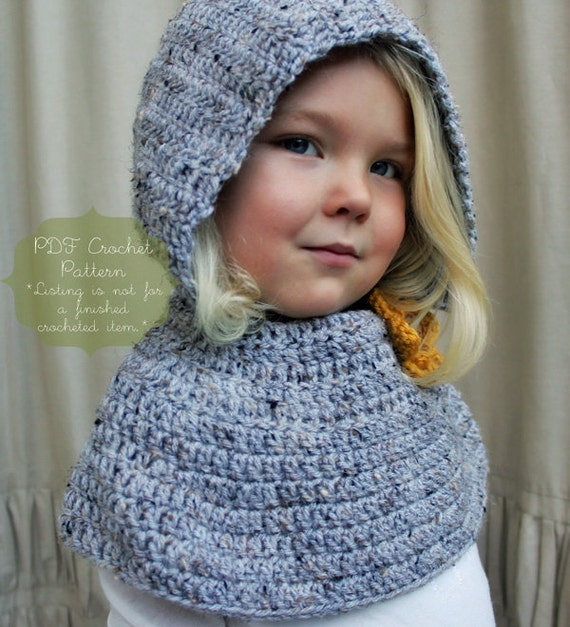 Crochet Pattern: The Daphne Hooded Capelet -Toddler, Child, & Adult Sizes- Button Flower