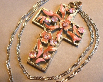 Pink Twotone Enameled Cross, Rhinestone Silver Pink & Violet Cross, Openwork 1980s Cross Pendant, Cross and Fancy Neck Chain, Cross Necklace