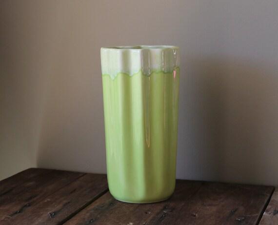Mid Century Pottery Vase California Green Vintage Coronet Chartreuse USA 210 Drip Glaze Mod Modern Mad Men Home Decor Retro