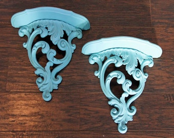 Vintage Syroco Chic Wall Shelves Two  bed crown ornate Cottage French By Foo Foo La La