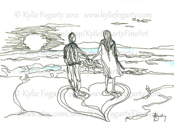 Line Drawing Beach : Card love luxury greeting by kyliefogartyfineart on etsy