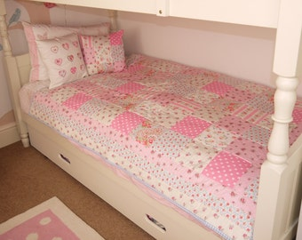 HANDMADE PATCHWORK QUILT single bed size Cath Kidston fabric. Girls / Boys bedroom nursery blanket. Made in the uk