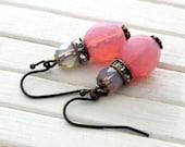 Pink and Blue Sorbet Earrings  .. pink blue earrings, rhinestone earrings, glass earrings, wedding earrings