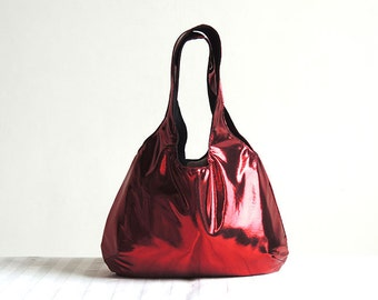 Metallic Red Hobo Tote Bag - Spring Fashion