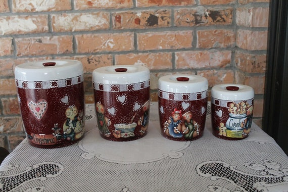 Gingerbread canister set 4 piece vintage upcycled canister for Kitchen decoration piece
