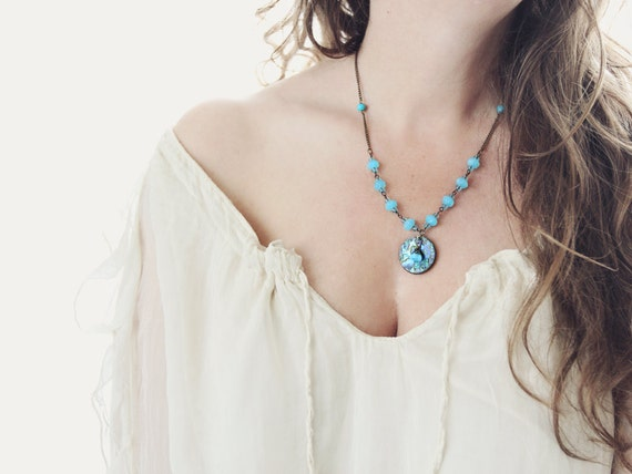 Abalone Shell Pendant on Blue Beaded Necklace with Flower Charm