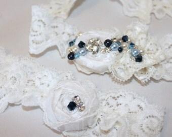Ivory Garter Set / Bridal Garter - Something Blue -  Luxury 'Phoebe' Wedding Garter  - New Collection  - Introductory Offer  25% OFF