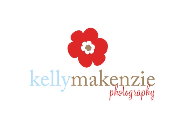 Premade Logo for Photographers and Small Crafty Boutiques Red Flower with Text