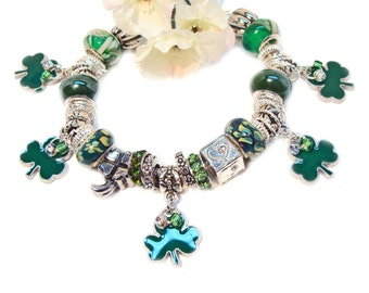 Lucky Shamrock Charm Bracelet with European style Beads and Crystals