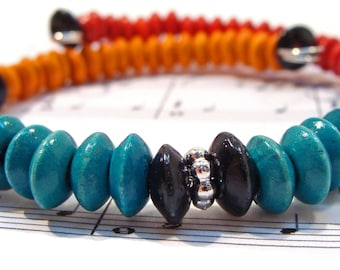 Southwestern Wrap Bracelet with Turquoise, Red and Orange Wood Beads