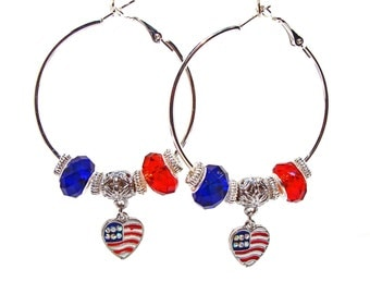 Red and Blue Hoop Earrings with Patriotic Heart Charm - Support USA Olympics