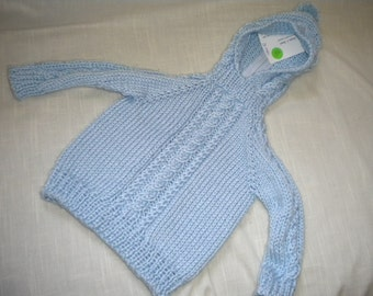 Hand Knit Baby Hoodie with Zipper up the Back Size 3 month