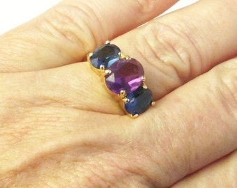 Large Crystal Amethyst Two Sapphire Blue Crystals Gold Tone 1980's Costume Jewelry Vintage Ring Gift For Her on Etsy