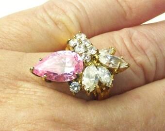 Vintage 1980's Designer Signed Sterling Silver Gold Plate Tear Drop Navette Cut Crystal Ring Gift For her on Etsy