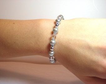 Silver Pearl - Interchangeable Beaded Watch Band